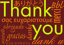 Thank you in Any Language - Burgundy Greeting Card